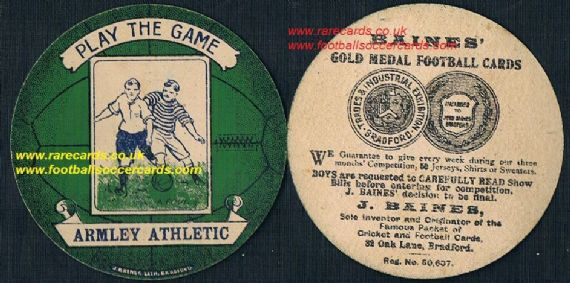 1918 Leeds Armley Athletic  FC card by Baines